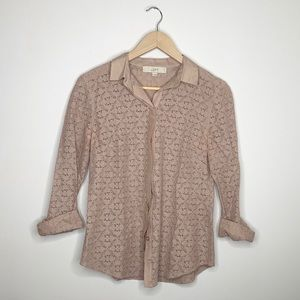 Ann Taylor LOFT lace collared button up top, small